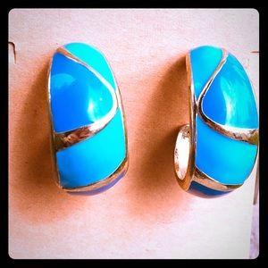 Vintage Blue Enamel Crescent Hoop Earrings